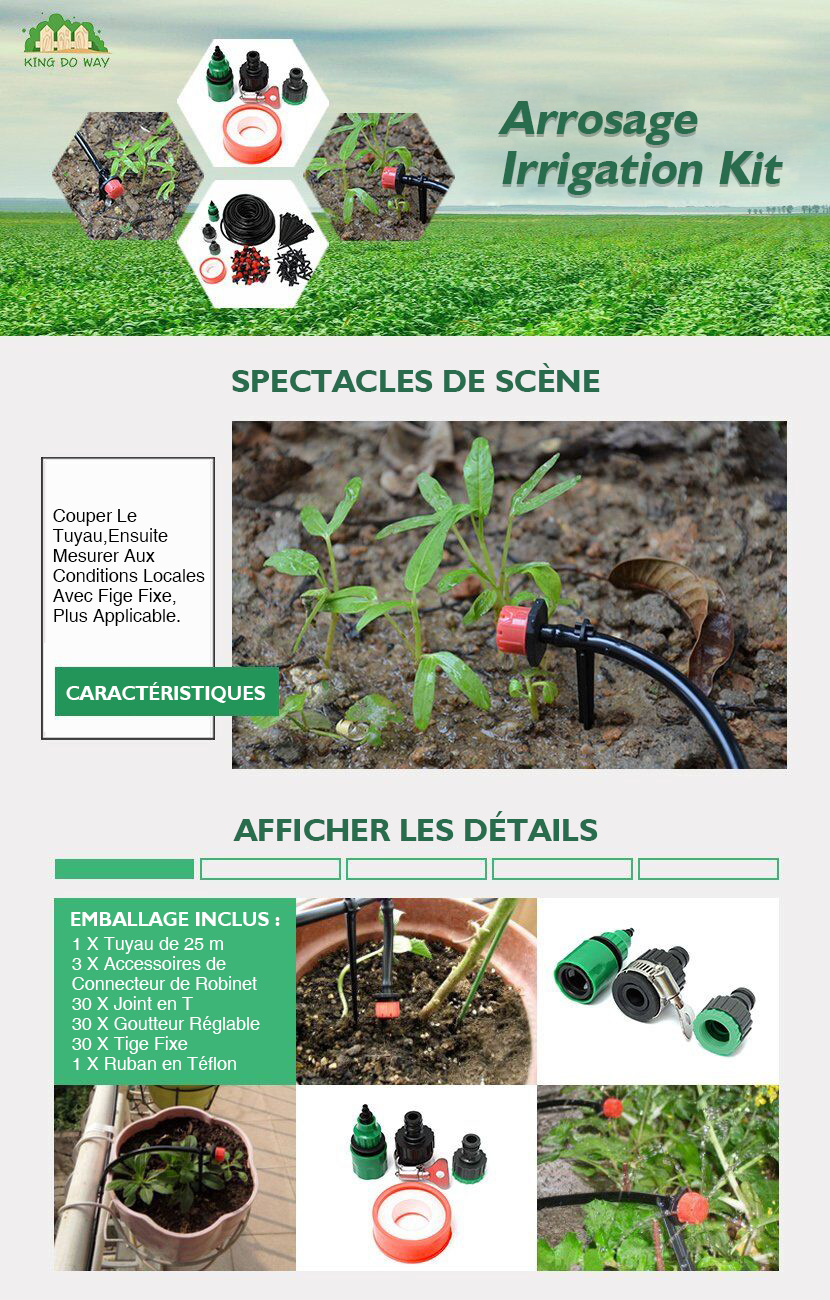 KING DO WAY Kit De Réglable Irrigation Goutte À Goutte Arrosage Pour Jardin  Serre 1811deafdf2a