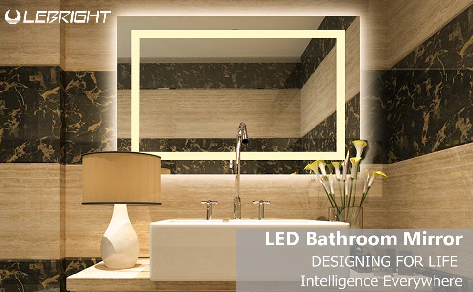 lebright miroir salle bain 100x60cm 23w lampe miroir salle de bain led miroir led lampe de. Black Bedroom Furniture Sets. Home Design Ideas