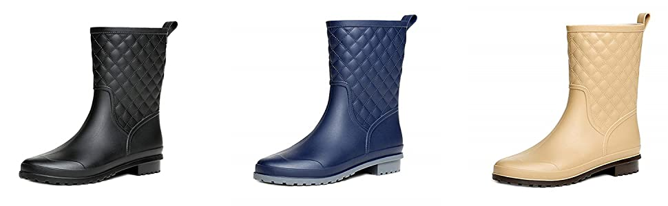 48b440c80ca391 Bottes Wellington pour femmes Bottes de pluie mi-mollet Bottes Festival  Wellies Chaussures de jardin