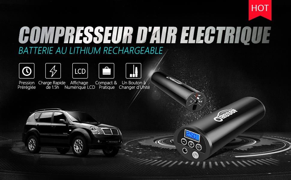 Oasser Compresseur Voiture Portatif Gonfleur Pneus Voiture Compresseur d'air Electrique avec Ecran LCD Lampe LED à Batteire de Lithium-lon 12V 150PSI