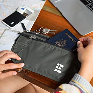Pochette de Voyage Pour Passeport Desert Sand Zero Grid Ceinture Porte-Billets avec Blindage RFID