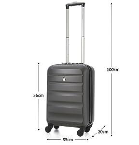 Aerolite 53,3/cm Coque Rigide ABS 4/Roues Valise Cabine Ryanair 35x20x20/2nd Sac fourre-Tout Provision de maximale sous Multicolore Charbon 53,3 cm