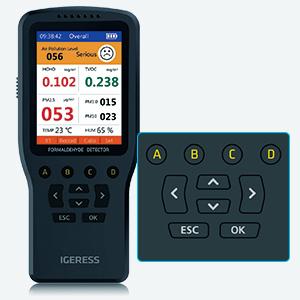 COV PM2,5 PM10 d/étecteur pr/écis dint/érieur avec /écran LCD color/é et Support pour formald/éhyde ZGYQGOO Testeur de capteur de Compteur de Pollution de la qualit/é de lair HCHO