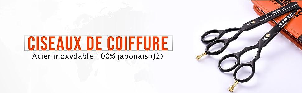 Ciseaux De Coiffure Ensemble De Dilatation De Cheveux Coupe Kit De Coupe Noir
