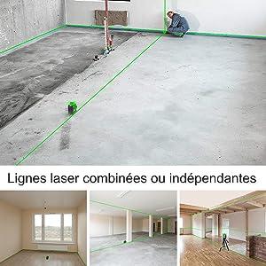 Laser commutation de ligne: ¡ñLe fonctionnement autonome facilite la projection de lignes combinées ou indépendantes. ¡ñChaque fois que vous appuyez une fois sur le bouton d'alimentation, l'outil laser projette la ligne horizontale, la ligne verticale et la ligne croisée l'une après l'autre. ¡ñLigne horizontale 360° et ligne verticale 360° (H360° / V360°)