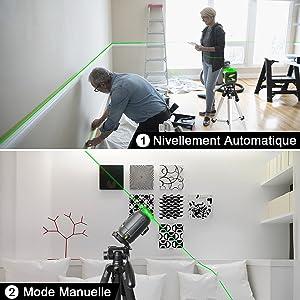 Mode de Nivellement Automatique & Mode Manuelle/ D'inclinaison: 1. Mode de Nivellement Automatique: ¡ñLa mise à niveau automatique garantit des lignes parfaitement droites et compense automatiquement les écarts de niveau jusqu'à ±4°. ¡ñTournez le pendule en position déverrouillée pour activer le mode de mise à niveau automatique. 2. Mode Manuelle/ D'inclinaison: ¡ñLe laser lignes ne permet pas seulement d'effectuer des mises à niveau précises, il dispose aussi d'une fonction d'inclinaison très pratique et très utile, par exemple pour la pose de rampes d'escalier. ¡ñLa ligne laser projetée en mode manuel ne peut pas être utilisée comme référence horizontale ou verticale.