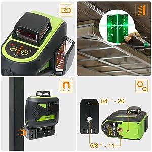 Utilisation facile: ¡ñ4 indicateurs de batterie sur le clavier permettent aux utilisateurs de connaître le volume actuel de la batterie à tout moment. ¡ñPlaque cible verte: Augmente la visibilité du faisceau laser ou du point laser. ¡ñBase pivotante magnétique puissante à 360°: Permet de fixer un rail métallique et de l'acier, vous permettant de faire pivoter le niveau laser à 360 degrés, projetant des lignes à n'importe quel angle ¡ñDeux tailles de montage: Filetages de montage 1/4
