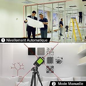 Mode de Nivellement Automatique & Mode Manuelle/ D'inclinaison 1. Mode de Nivellement Automatique: ¡ñLa mise à niveau automatique garantit des lignes parfaitement droites et compense automatiquement les écarts de niveau jusqu'à 4°±1°. ¡ñTournez le pendule en position déverrouillée pour activer le mode de mise à niveau automatique. 2. Mode Manuelle/ D'inclinaison: ¡ñLe laser lignes ne permet pas seulement d'effectuer des mises à niveau précises, il dispose aussi d'une fonction d'inclinaison très pratique et très utile, par exemple pour la pose de rampes d'escalier. ¡ñLa ligne laser projetée en mode manuel ne peut pas être utilisée comme référence horizontale ou verticale.