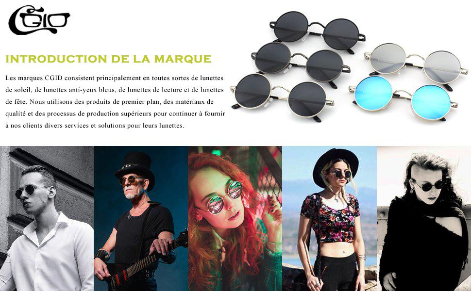 CGID E01 lunettes de soleil polarisées inspirées du style retro vintage Lennon en cercle métallique rond 8JukjzMDN