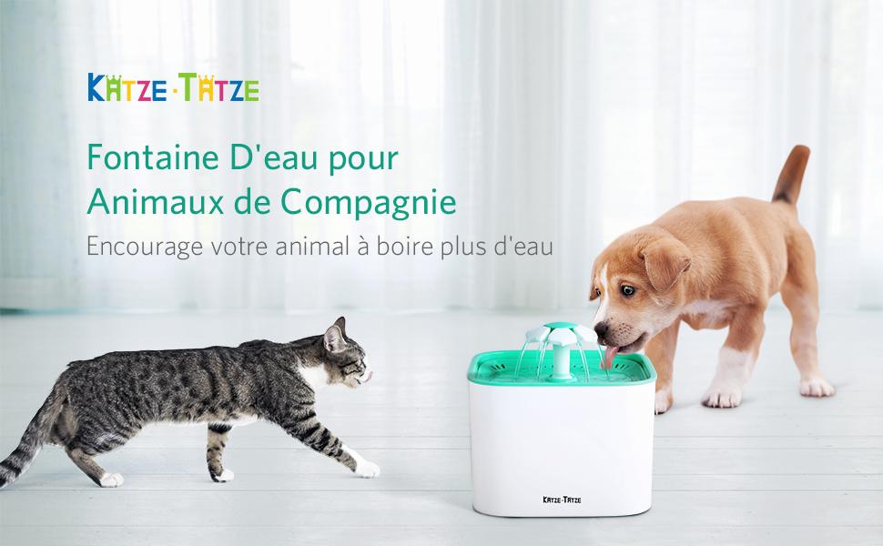 Dishes, Feeders & Fountains Katze-tatze Fontaine à Eau Pour Chat 2l Fontaine Eau Chat Avec 1 Filtre Ultra...