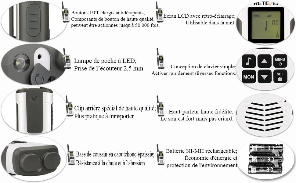 Rt45 Torche Walkie Codes Lampe Canaux Scan Licence 16 Pmr446 121 Retevis Led Sans Professionnel Rechargeable Vox Talkie Plus MVjSUpzqGL