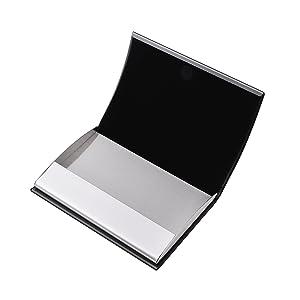 Blanc Cartes de Cr/édit /Étui Porte-Cartes RFID en Cuir et Acier Inoxydable de pour Cartes de Visite Cartes D/'identit/é.