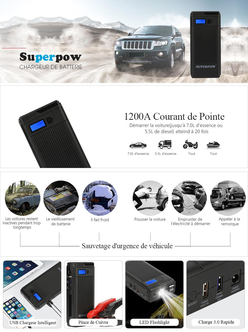 superpow chargeur de batterie 1200a peak booster de batterie booster d marrage de. Black Bedroom Furniture Sets. Home Design Ideas