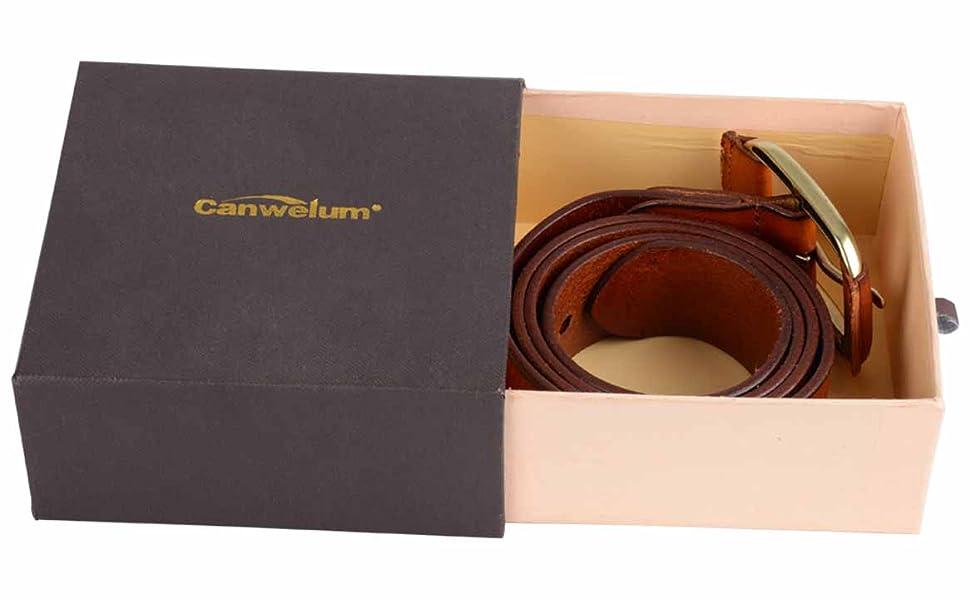 Canwelum Ceinture Homme Véritable, Ceinture Homme pour Jeans avec Cuivre  Boucle (Marron ) afe71bc64db