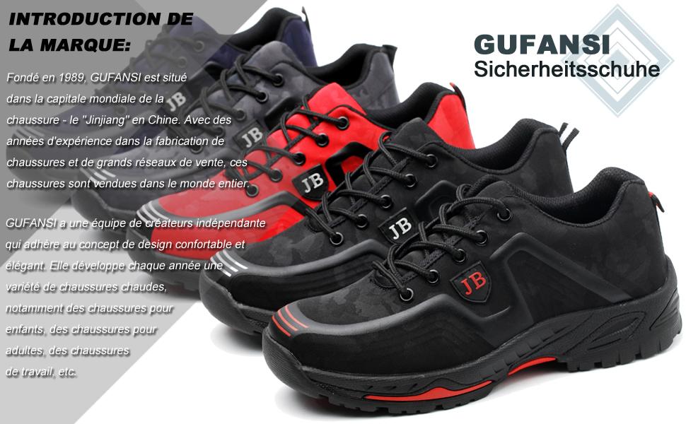 nouveau style e8623 4cb6d GUFANSI Chaussures de Sécurité Baskets Homme Femme Respirant Légère  Chaussures de Randonnée Chaussures de Travail pour été