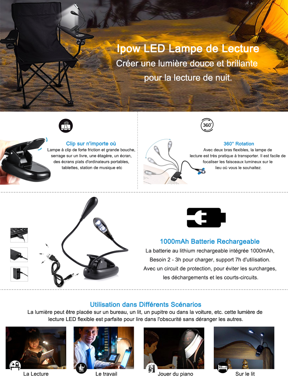 ipow lampe de lecture led rechargeable lumi re flexible clip 4 niveaux de luminosit avec. Black Bedroom Furniture Sets. Home Design Ideas