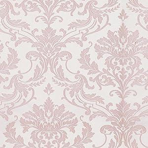 hanmero papier peint intisse a paillettes baroque vintage damasse 3d flocage pour chambre salon bureau rose 10m 0 53m