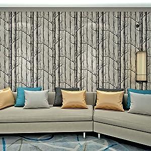 hanmero papier peint intiss vintage motif de bouleau arbre noir et blanc pour salon chambre. Black Bedroom Furniture Sets. Home Design Ideas