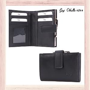 Cuir V/éritable 4244 Gigi Bleu Marine Bo/îte Cadeau Femme Portefeuille//Porte Monnaie