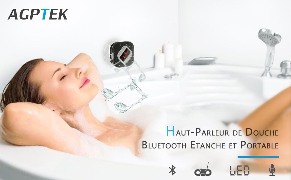 AGPTEK Enceinte De Douche Bluetooth Portable Avec Fonction Radio FM Et Affichage A LED Noir Haut Parleur