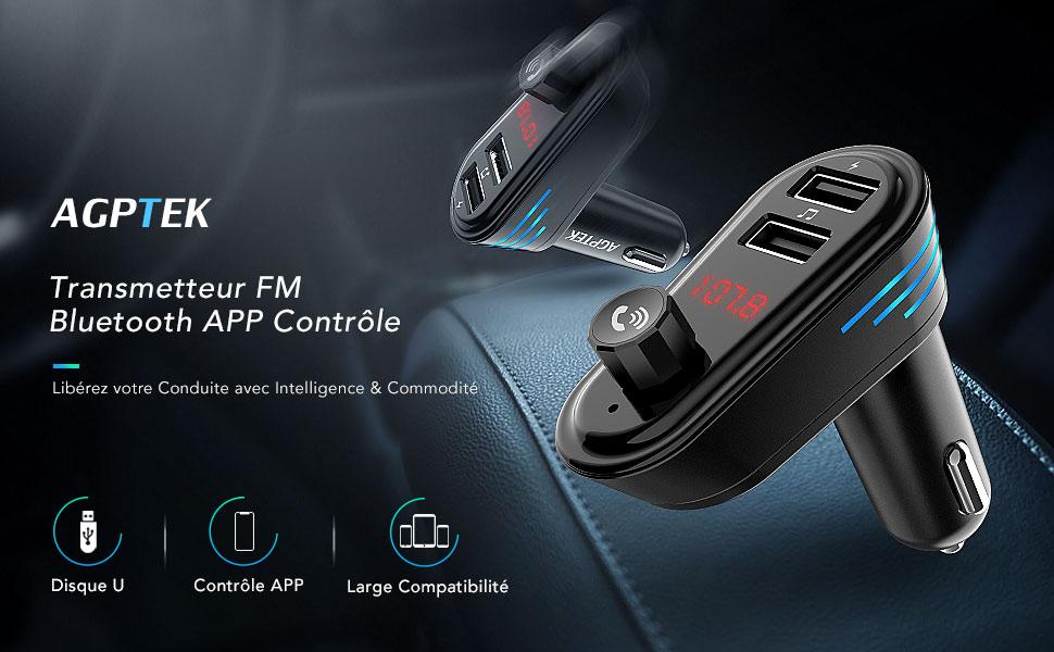 Localisateur GPS AGPTEK Transmetteur FM Bluetooth Adaptateur Autoradio Kit Voiture Main-Libre Chargeur Allume Cigare Double Port USB 5V//2.1A et Port Audio 3,5mm Musique Contr/ôle pour Andriod//iPhone