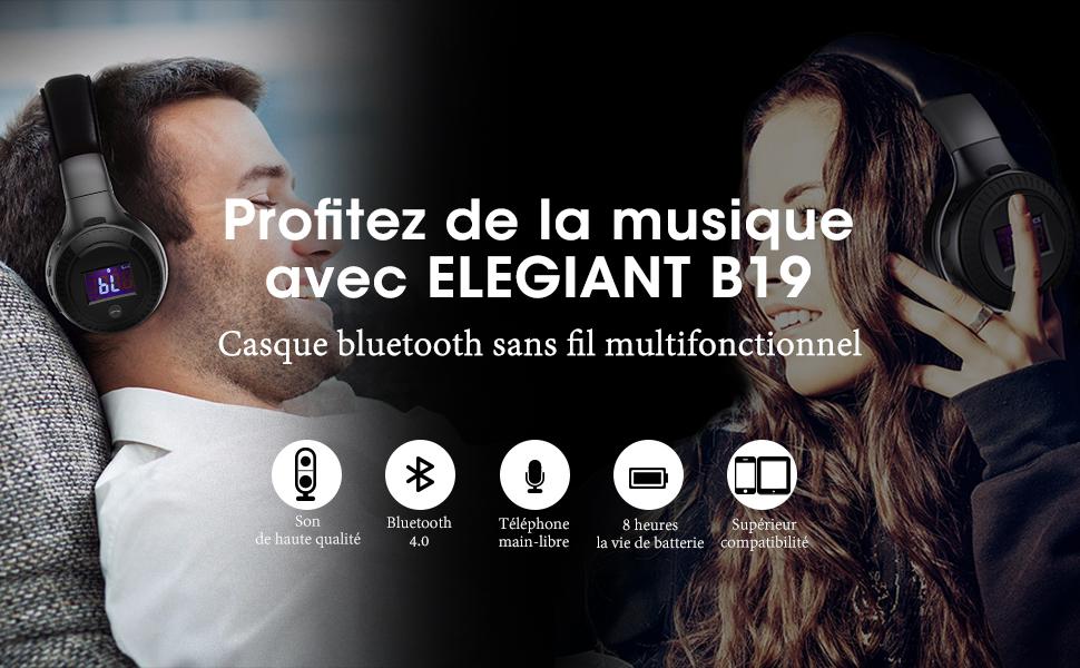 Casque Bluetooth Elegiant Oreillette Multifonction Stéréo Sans Fil