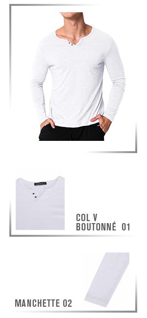 MODCHOK Homme T-Shirt Manche Longue Col V Top Tee Pull Basic Coton Couleur  Unie. MODCHOK 79a891760fe1