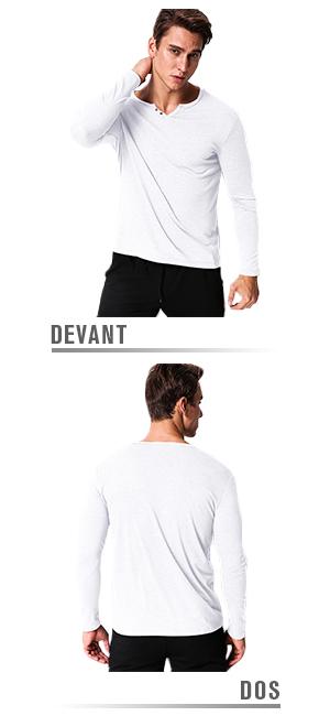 MODCHOK Homme T-Shirt Manche Longue Col V Top Tee Pull Basic Coton Couleur  Unie 339e3e696290