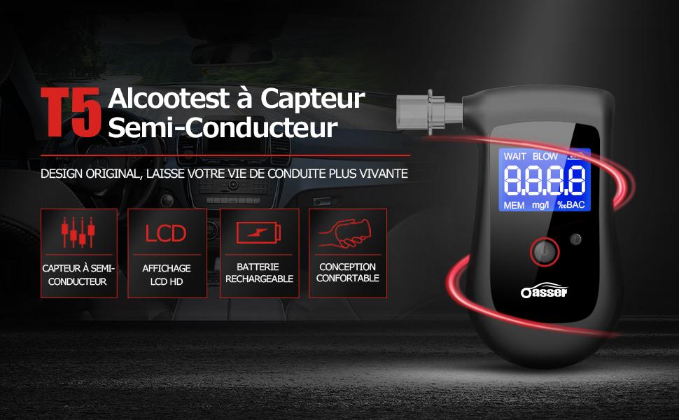 oasser Alcootest Portable Ethylotest Num/érique /à Capteur Semi-Conducteur Ethylom/ètre Rechargeable /à Batterie en Lithium Int/égr/ée avec Ecran LCD et 4 Embouts T5