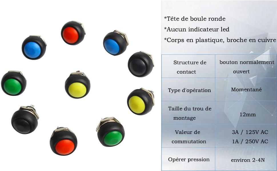 Larcele ANKG-01 10 pi/èce 12mm Mini Bouton Poussoir Momentan/é DIY Bouton Orange