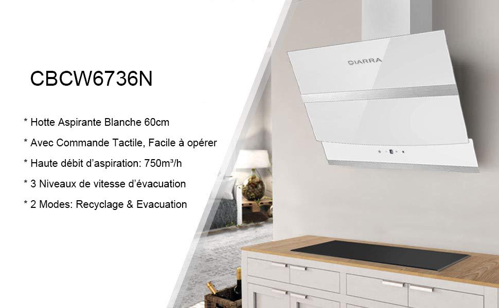 Ciarra Cbcw6736n Hotte Aspirante Inclinee 60cm Hotte Tactile