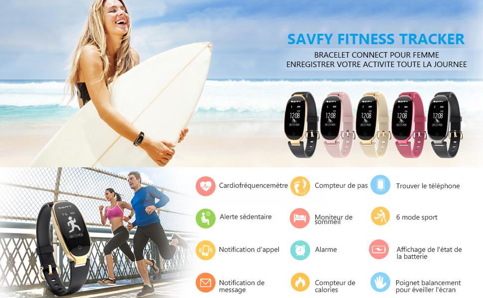 Préférence Bracelet Connecté Femme, SAVFY Tracker Activité Sommeil Montre  AN16