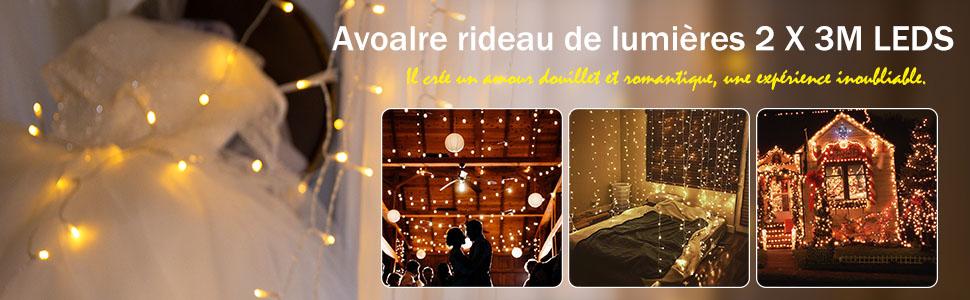 No/ël 2mx3m Rideau Lumineux 300LED Extensible avec Prise Guirlande Lumineuses Rideau Imperm/éable IP44 D/écoration Int/érieur Ext/érieur Maison,F/ête Mariage,Fen/être 6 Ensembles MAX. Blanc chaud