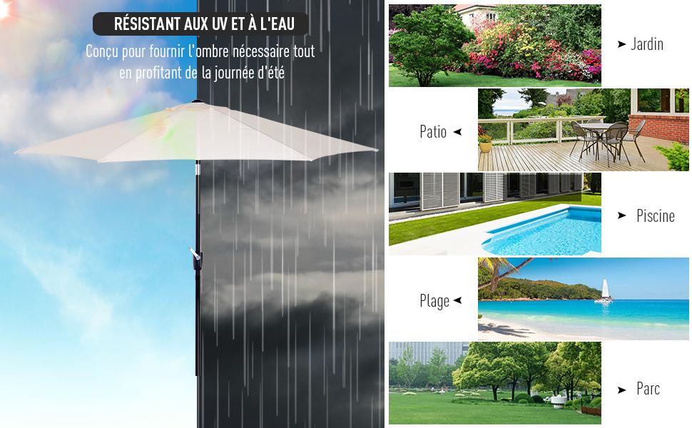 Outsunny Parasol Inclinable De Jardin Balcon Terrasse Manivelle Toile Polyester Imperméabilisée Haute Densité 180 Gm² ø27 X 235h M Alu Crème