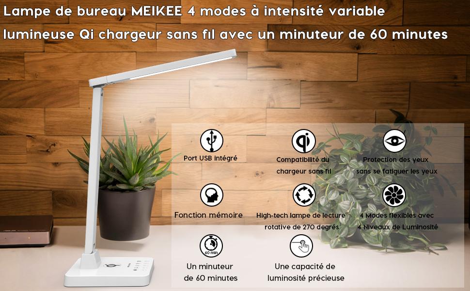 Lampe de bureau meikee w led niveaux de luminosité tactile