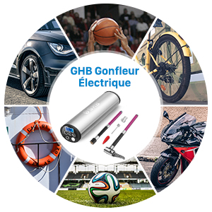 ghb gonfleur lectrique v lo voiture pompe pneus l ger 150 psi rechargeable argent. Black Bedroom Furniture Sets. Home Design Ideas
