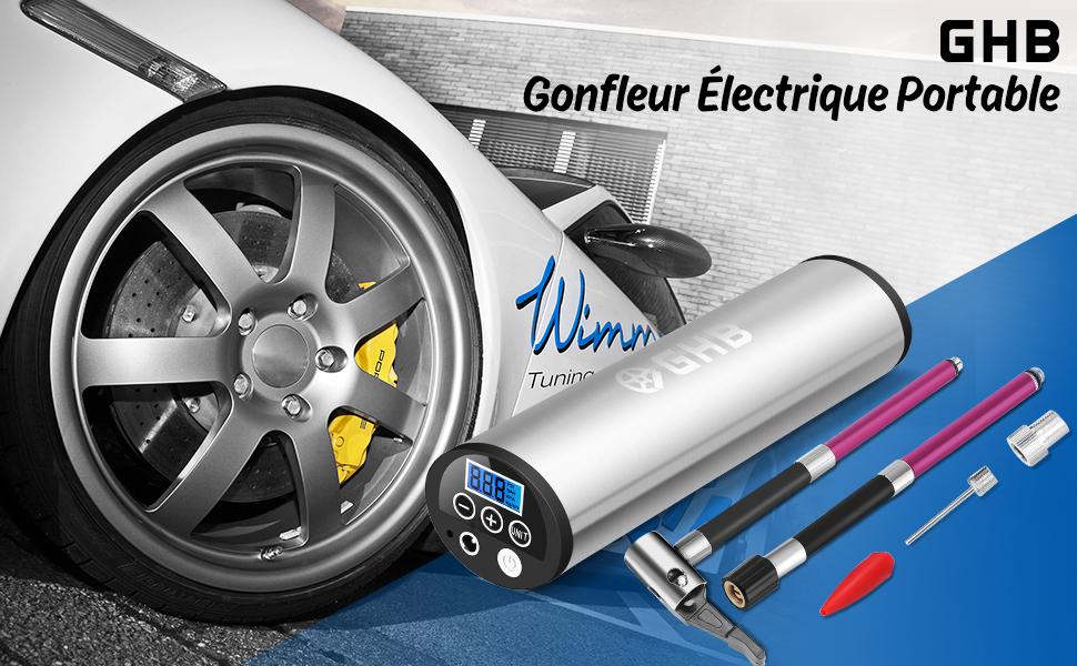 ghb gonfleur el ctrique v lo voiture pompe pneus l ger 150 psi rechargeable argent. Black Bedroom Furniture Sets. Home Design Ideas