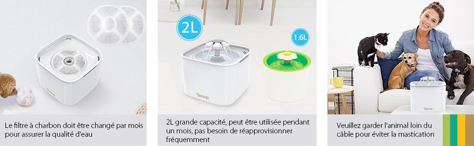 DADYPET Fontaine à Eau pour Chat Chien, Fontaine à