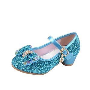94b9457e2349 Yy.f YYF Fille Chaussures Ballerine a Talon Paillettes Brillants ...