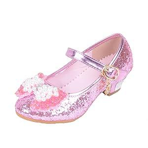 2bccc31fe544 Yy.f YYF Fille Ballerine Chaussures à Talon à Déguisement Princesse ...