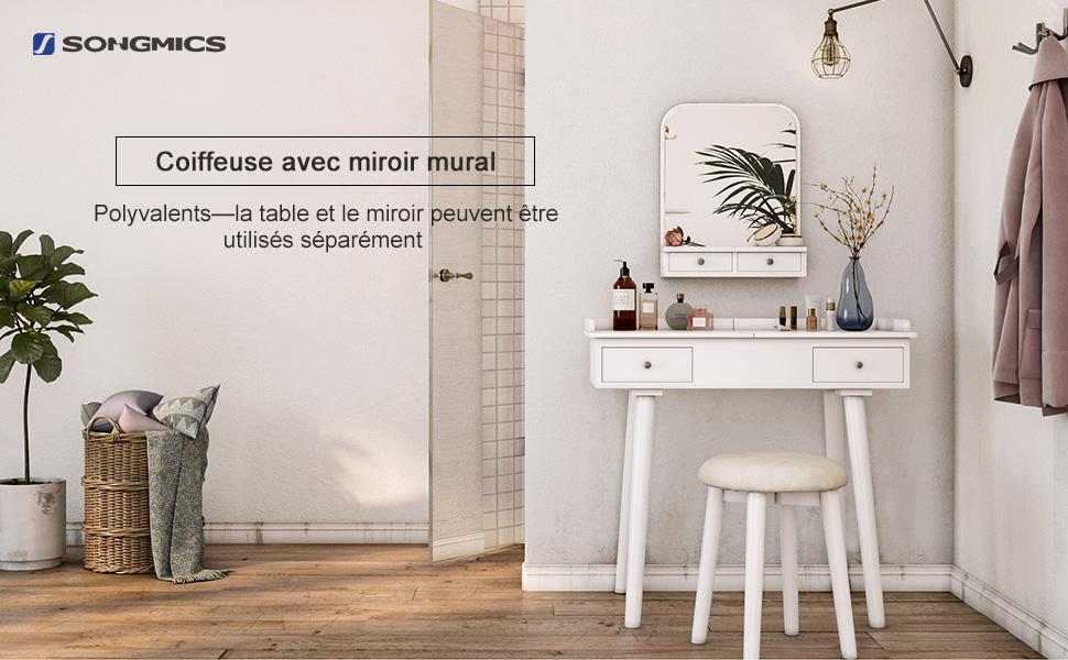 Songmics Coiffeuse Table De Maquillage Moderne Miroir Mural Plateau