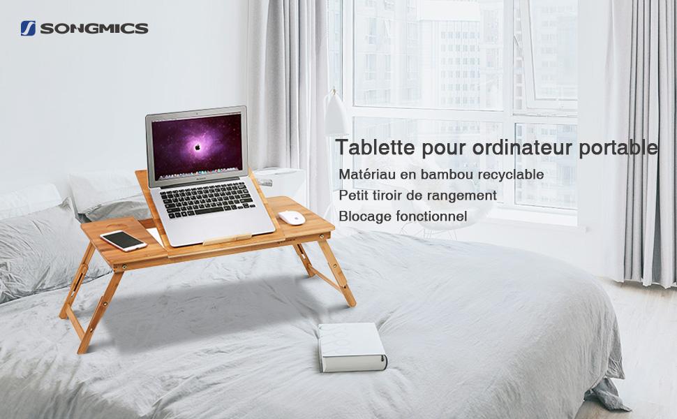 Songmics table de lit pliable en bambou pour pc ordinateur portable tablette avec tiroir lld004 - Tablette pour ordinateur portable lit ...