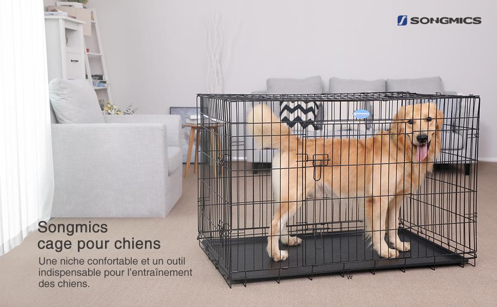 861350ae8192b2 Songmics® 2 Portes Cage pour chien pliable et transportable avec ...