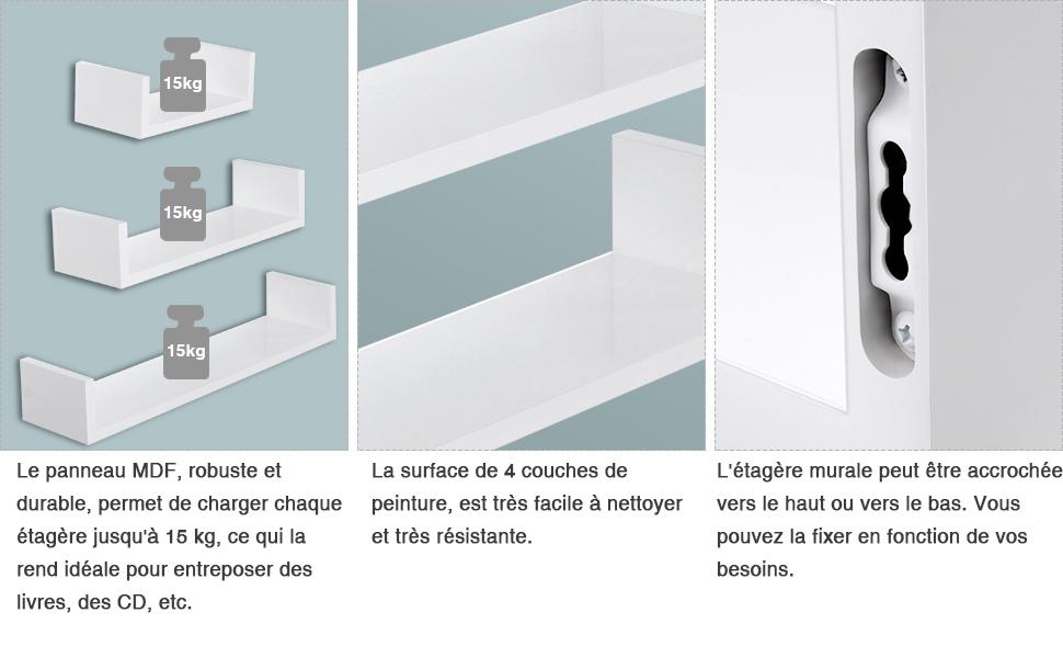 flottantes maximale15 Cubes cmCharge de 8 Etagères SONGMICS Lot kgBlanc 1 LWS66W murales de Etagères 3 Epaisseur 3Lj5Aq4R
