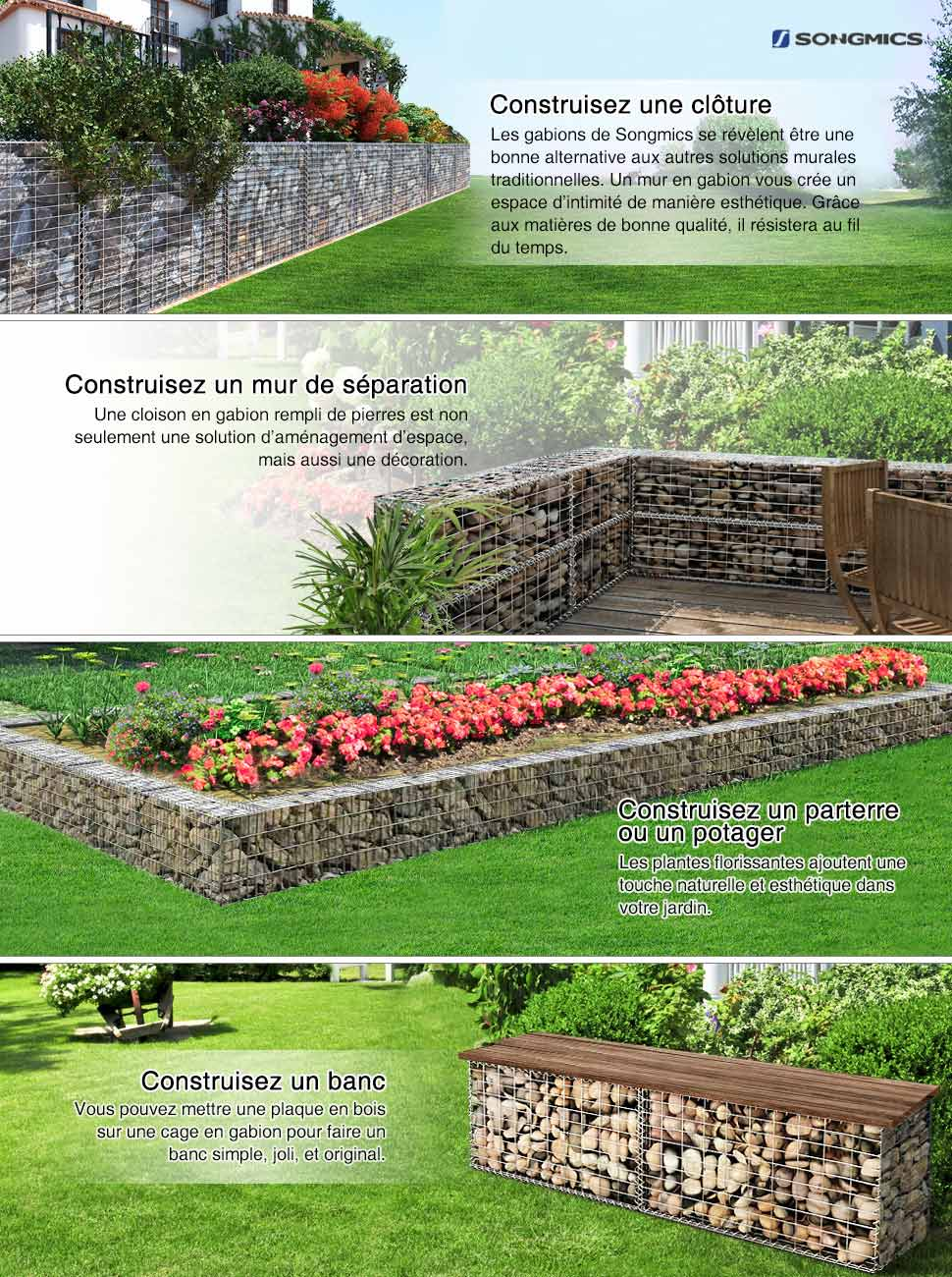 Songmics gabion pierre m tallique galvanis banc de jardin for Decoration jardin gabion