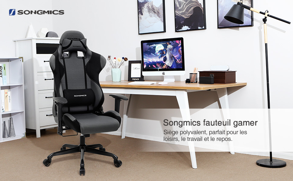 Songmics chaise gamer fauteuil de bureau racing sport avec support