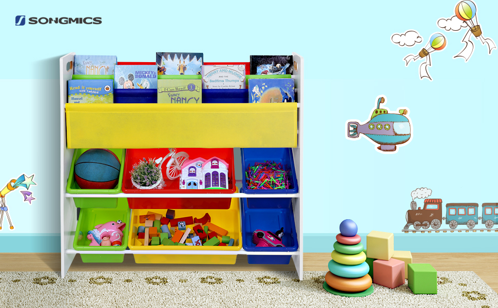 songmics meuble de rangement pour jouets et livres. Black Bedroom Furniture Sets. Home Design Ideas
