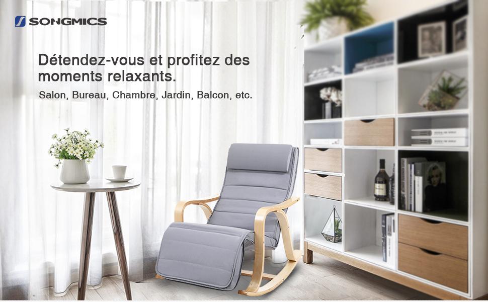 rocking chair fauteuil bascule avec repose pied r glable 5 niveaux gris clair lyy41g songmics. Black Bedroom Furniture Sets. Home Design Ideas