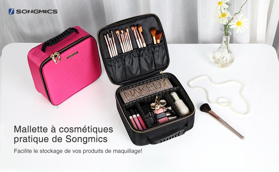 Songmics Sac de maquillage Sac de rangement Trousse de voyage avec Cloisons amovibles Pochettes pour pinceaux Poignée Bandoulière offerte Peut être fixé sur la valise (M)