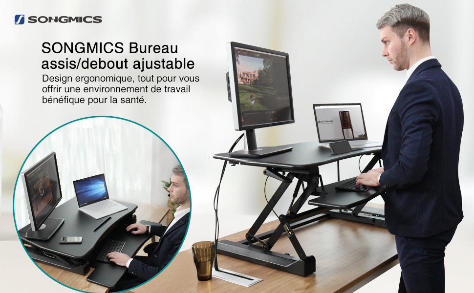 Songmics bureau assis debout poste de travail assis debout pour